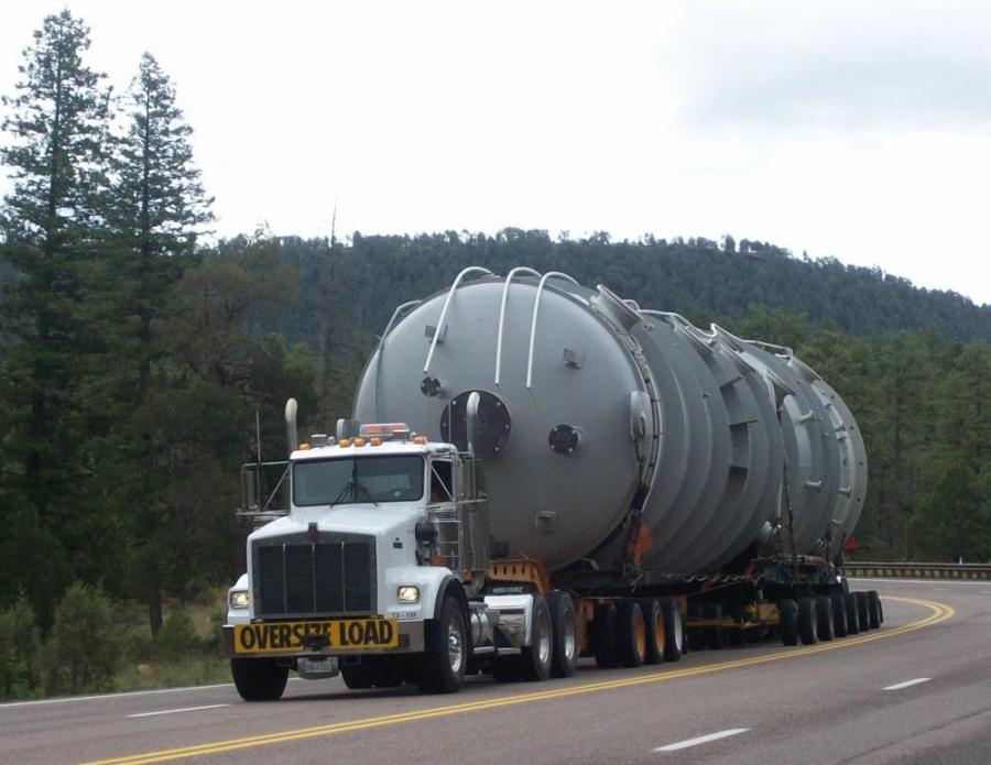 The Kenworth T800s took three weeks to make the 3,000 mile journey from Houston to Northern California.