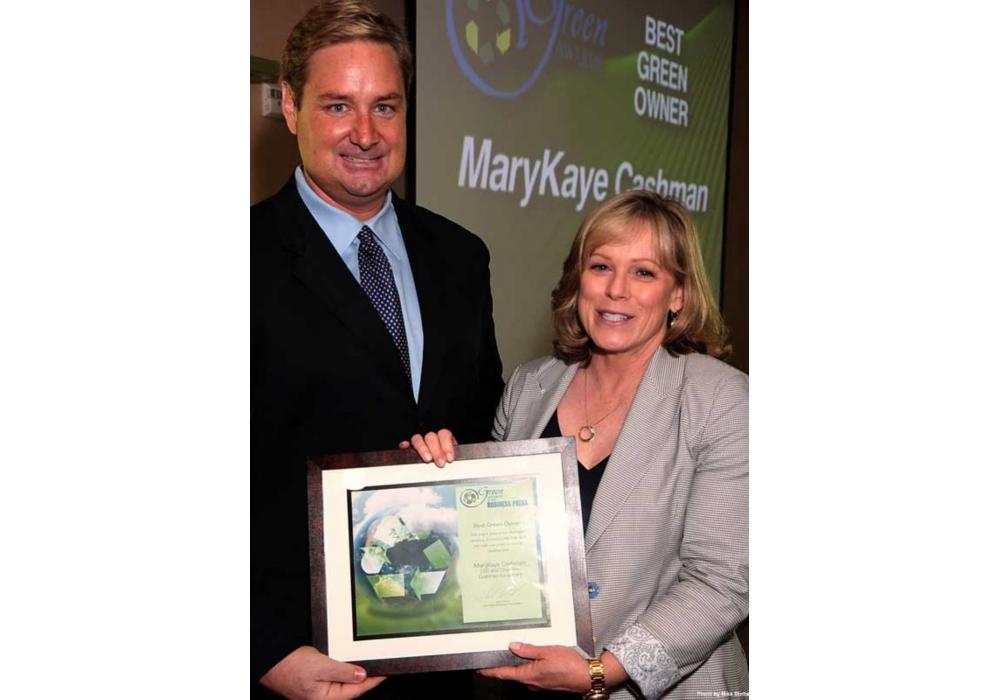 Tony Illia of the Las Vegas Business Press presented MaryKaye Cashman, chairman and CEO of Cashman Equipment, with the Green Owner of the Year award.