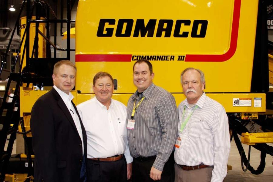 (L-R) are Kent Godbersen, GOMACO vice president of worldwide sales and marketing; Jim Hayward, GOMACO United States and Canada western district sales manager; Andru Small, Terry Equipment Inc., in Bloomington, Calif.; and Bryan Keller, Terry Equipment Inc