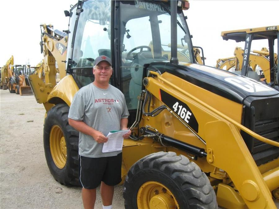 Craig Stevens of Stevens Equipment Co., Humble, Texas, is interested in this Cat 416E backhoe.