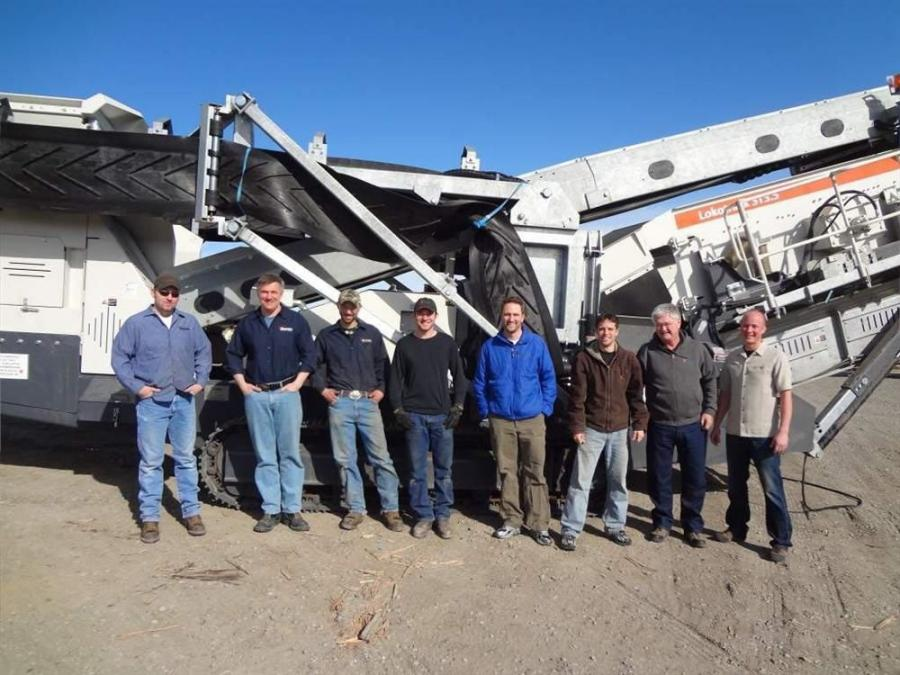 The Westate Machinery team with the Metso Lokotrack ST3.5 mobile screen, (L-R) are Larry Broadbrooks, Phil Schulz, Cameron Quehan, Art Hall, Josh Reno, Nathan Buel, Jim Reno and Zach Scheidler. Not pictured: Neil Whitmore, Reid Armstrong, John Junnila and