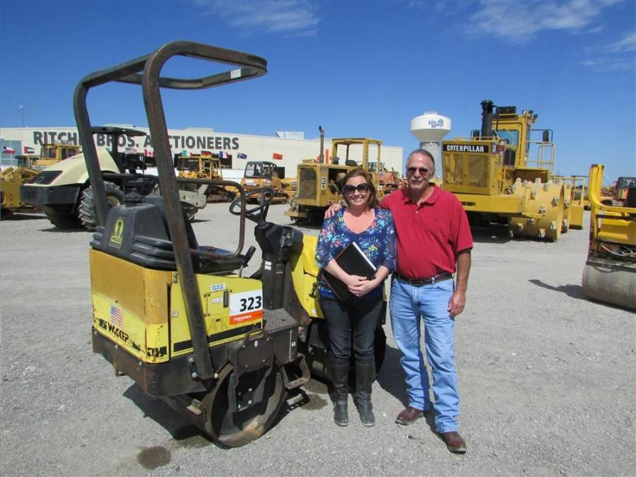 Bruce Tucker and his daughter, Autumn Cline, Tucker Service Company in Justin, Texas, are hoping to take this little Wacker roller home with them.