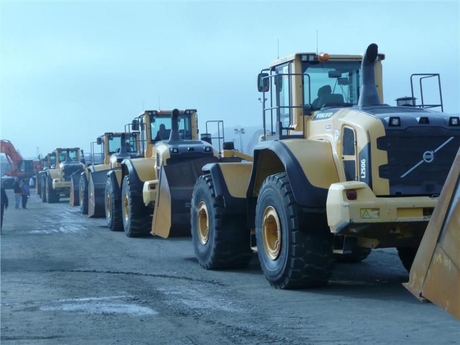 A Volvo L250G wheel loader joins the procession of loaders making their way to the ramp at Ritchie Bros. Los Angeles auction.