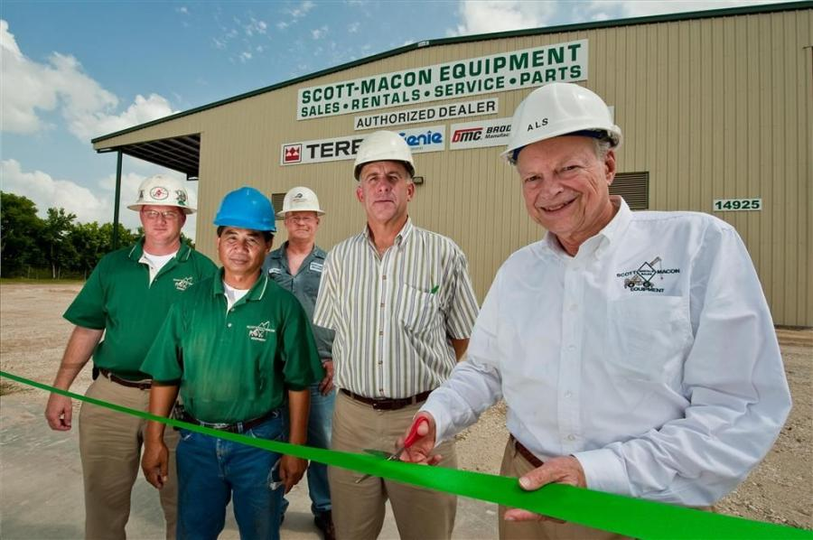 Alfred L. Scott (far R), founder of Scott-Macon Equipment, cuts the ribbon marking the opening of a new 17,500 sq. ft. service center in Houston, Texas, while (from R to L), Brad Thompson, vice president - product support; Sarun Kuy, quality assurance; Ji