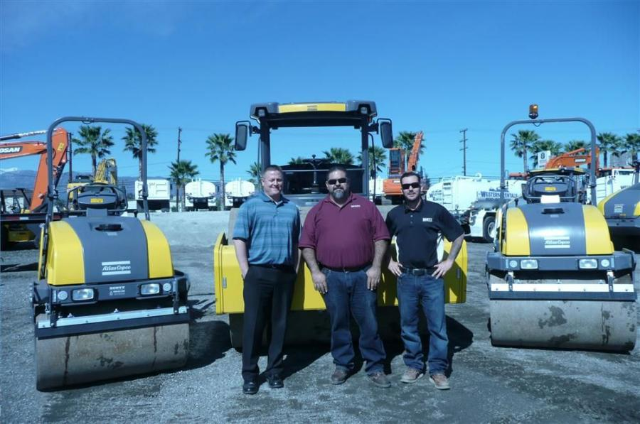 (L-R): Jason McCluer, Art De La Torre and Steve Hutchins of Scott Equipment with their recently added Atlas Copco line of drum rollers.