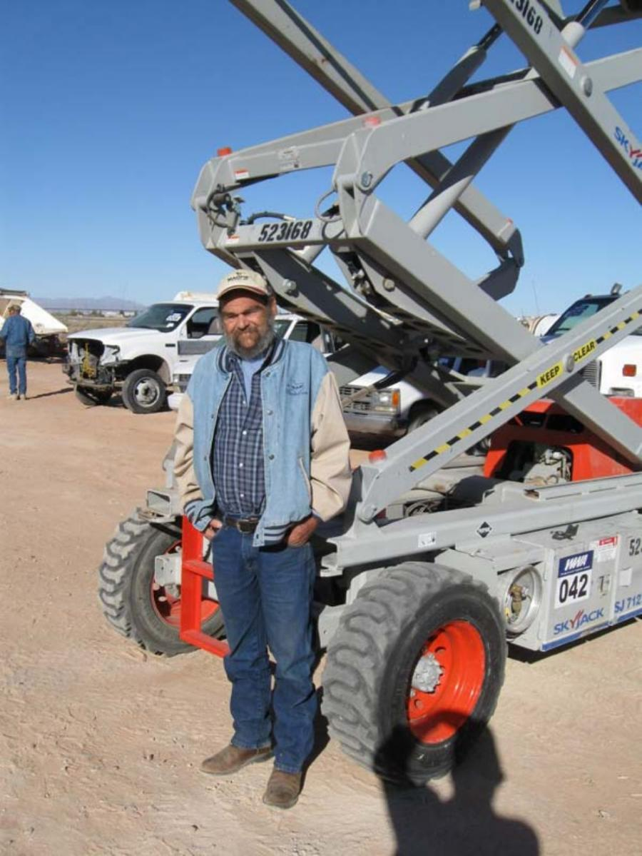 Lewis Campbell of B&R Line Construction in El Paso, Texas, takes a closer look at the SkyJack lift.