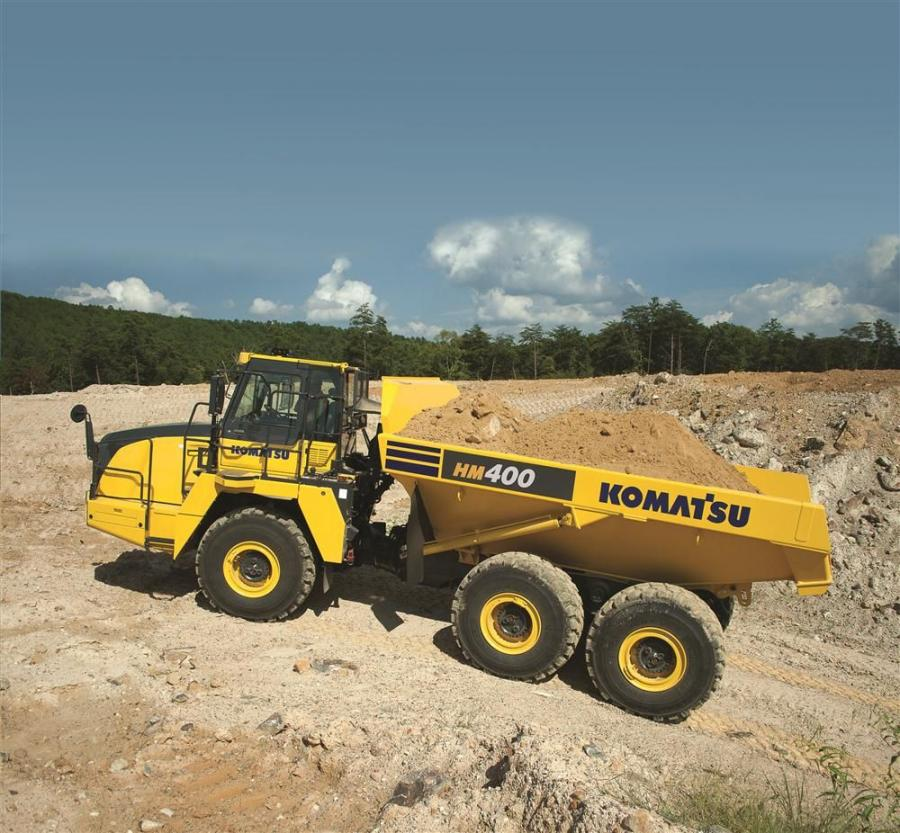 Komatsu's HM400-5 articulated dump truck features a net 469 hp (350 kW) and is powered by a Komatsu SAA6D140E-7 engine that is EPA Tier IV Final emissions certified.