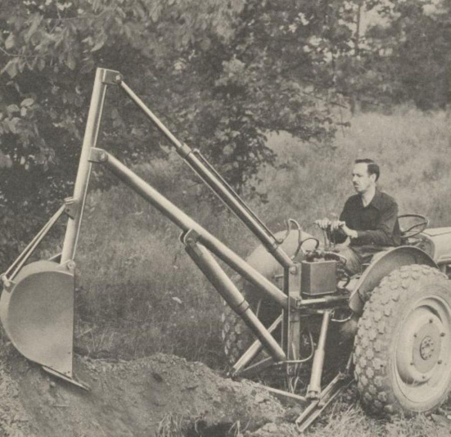 1949 Sherman Brochure picture showing the Wain-Roy Backhoe.