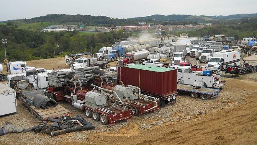 A hydraulic fracturing operation at a Marcellus Shale well.