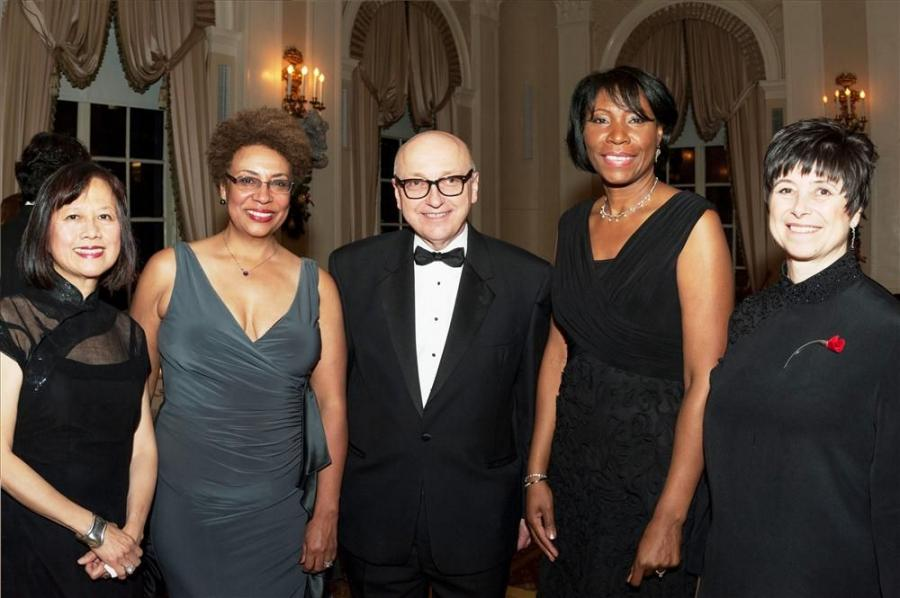 At the PWC Gala: (L-R) Fanny Gong, Manhattanville Development, Columbia University; Barbara Armand, Armand Corp.; and Steven Plate, PANYNJ, WTCC presented awards to Clarelle DeGraffe, PANYNJ, WTCC and Jill Lerner, Kohn Pedersen Fox. Photo by Pearl Perkins