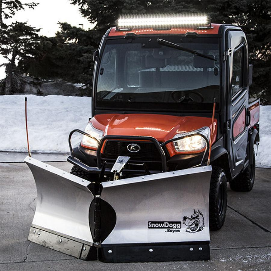 The SnowDogg VUT65 offers aggressive snow removal in tight spaces.