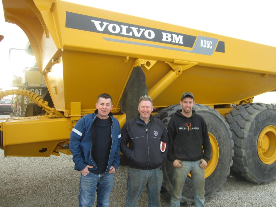 (L-R): Simon Bradley, Pro-Excavating; Lawrence Gill, Donegal Excavating; and John Hagan, Land View Excavating, stand in front of this Volvo A35C articulated truck.