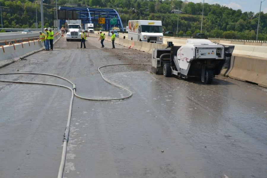 WVDOT  photo.  The West Virginia Division of Highways is nearing completion of a project to rehabilitate a total of 19 bridges along Interstate 64 in the Charleston area.