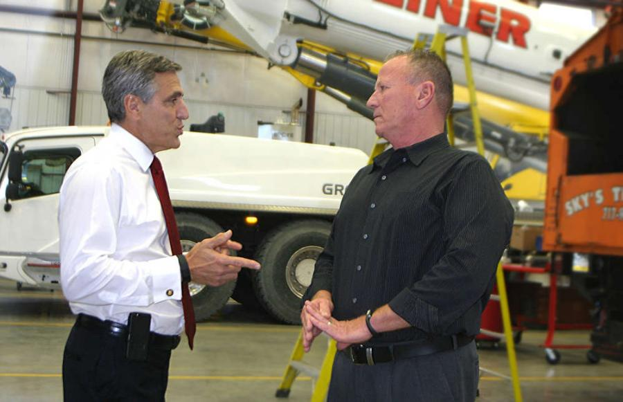 U.S. Congressman Lou Barletta (L) discusses the effects of the recently passed Highway Bill and Section 179/Bonus Depreciation with Stephenson President and CEO Dennis Heller.