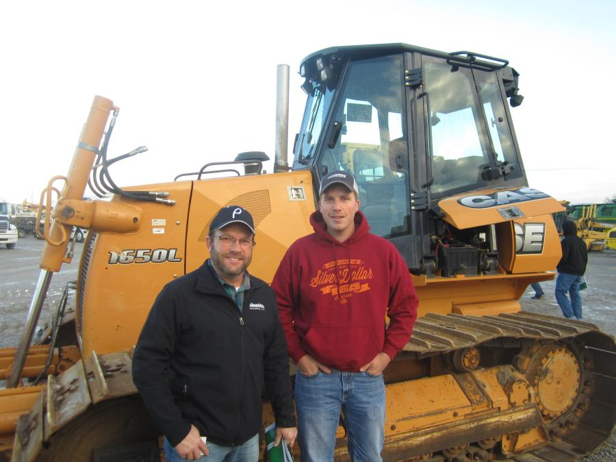 Mike and Taylon Lanphier both of Lanphier Excavating are interested in this Case 1650L dozer.