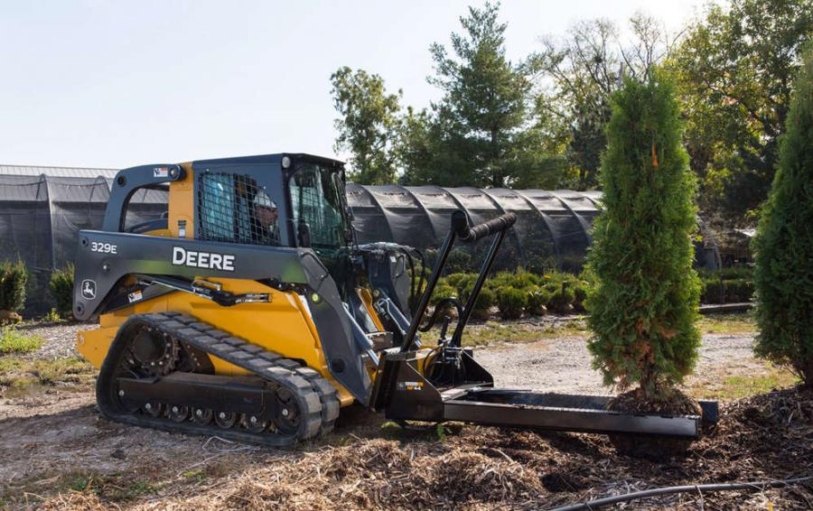 The nursery fork (NF44) is the latest addition to the ever-expanding lineup of Worksite Pro attachments and is optimized to work with select John Deere E- and D-Series skid steers, compact track loaders (CTLs) and most competitive models.