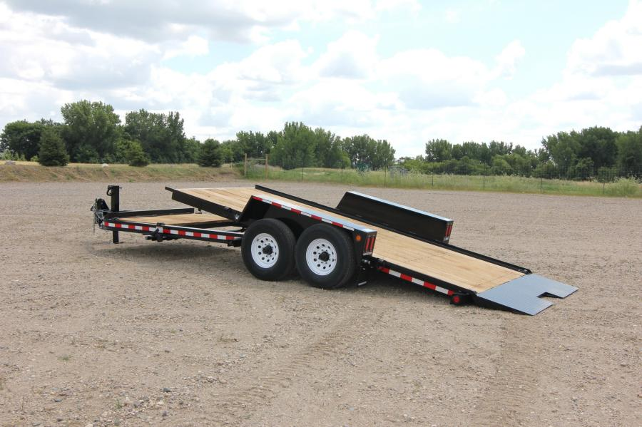 Towmaster's drop-deck tilt-bed trailer features a dual-locking, single lever tilt mechanism that lets the operator tilt the bed from one side of the trailer.