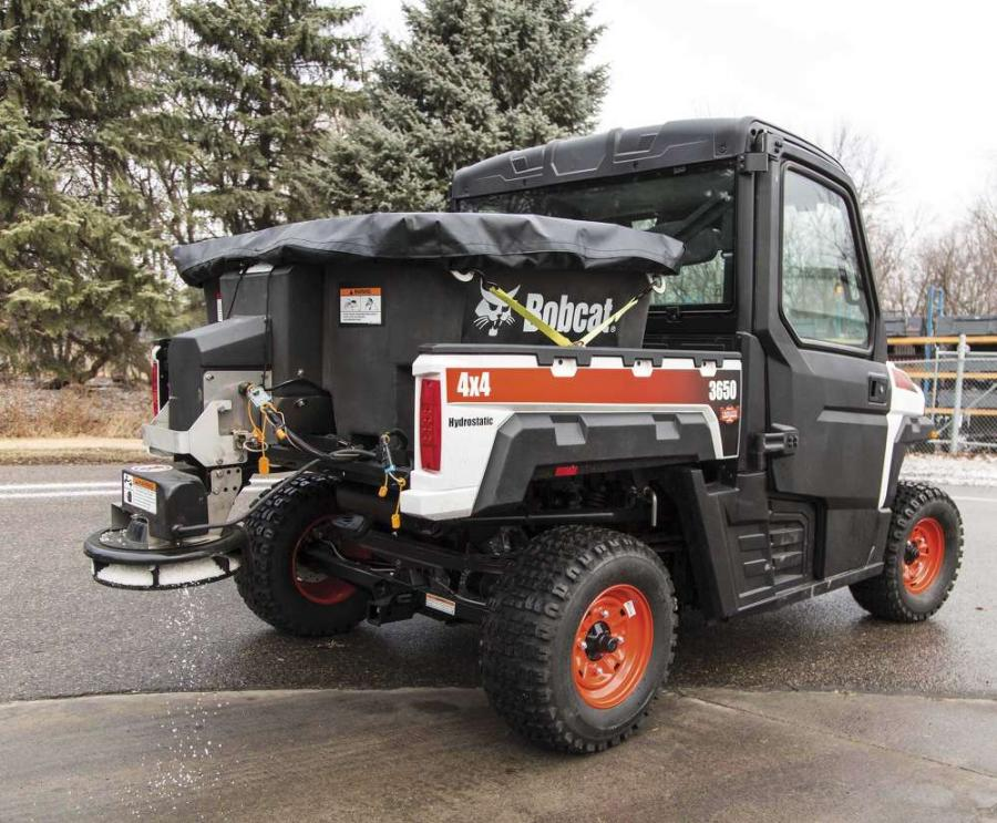 Powered by a 12-volt DC drive motor, the new spreader can distribute salt or sand — from 5 to 38 ft. (1.5 to 11.6 m) — from the spinner wheel to melt snow and ice from surfaces.