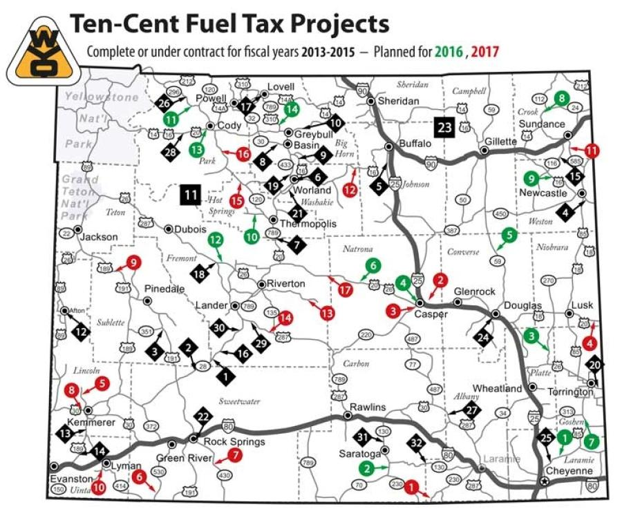 Work is expected to begin on another 14 10-cent fuel tax projects in fiscal 2016, and 17 more in 2017.