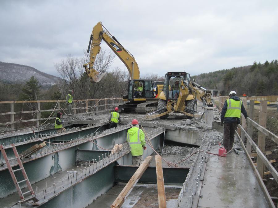 Crews remove the existing deck from Bridge 46S.