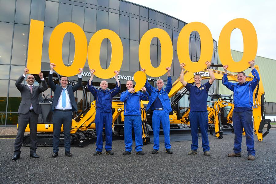 (L-R) are JCB Compact Products MD Buta Atwal; JCB Compact Products General Manager Ian Gillott; Assembly Technician Paul Mellor; Paint Sprayer Dave Thacker; Maintenance Fitter Mark Bentley; Fitter Gary Ratcliffe and Welder Melvin Sims.