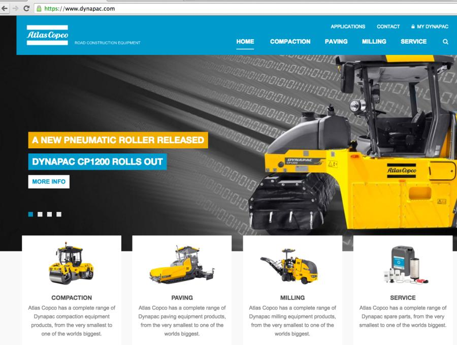 Atlas Copco's redesigned Dynapac Web site features a new, simplified layout so contractors and dealers can quickly find product information, industry news and Atlas Copco's Construction App as well as tools to request service and repair kits.