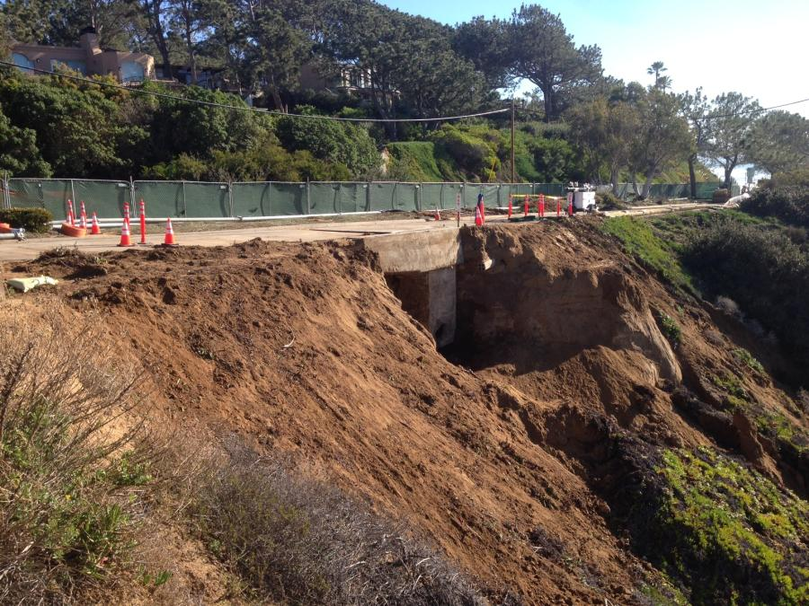 In San Diego County, erosion along a bluff in Del Mar posed a threat to a major sewer line and gas main and forced the closure of the southbound lane of the roadway between Fourth Street and Carmel Valley Road.