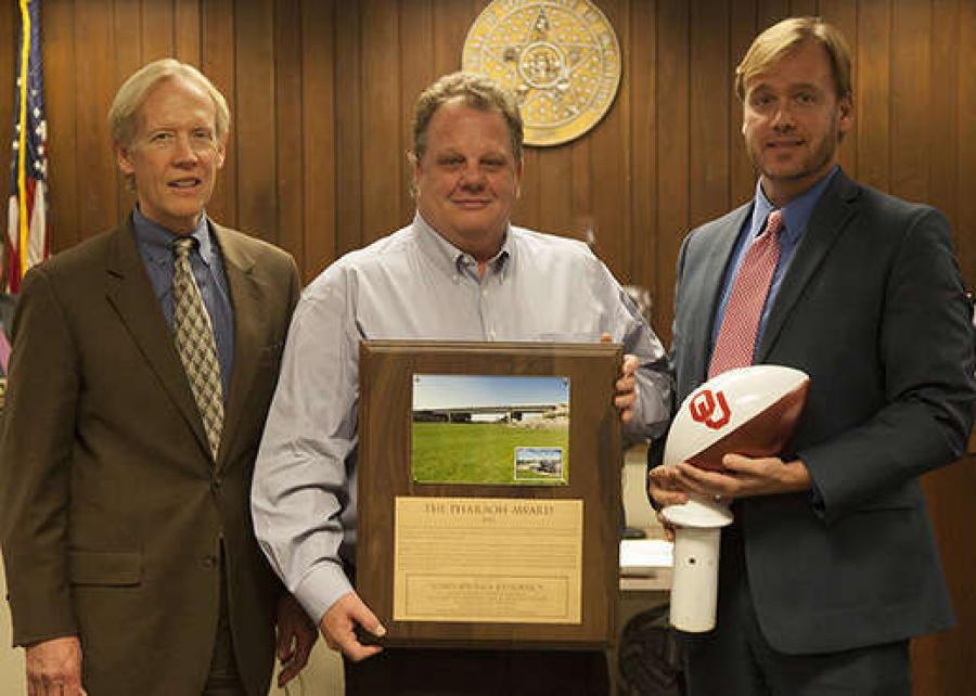 ODOT was honored by the Association of Oklahoma General Contractors for an innovative bridge project. The Pharaoh Award, named for the Pharaoh family in Henryetta, recognized the replacement of the SH-51 bridge over Cottonwood Creek in Creek County, which