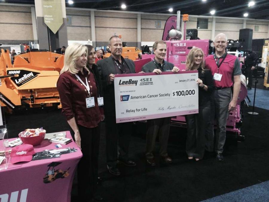 Receiving the $100,000 check is Jami Myers, Senior Director for North Carolina Relay For Life (far left). She is joined by representatives from VT LeeBoy and Stephenson Equipment, Inc.: Tamara Helderman, Human Resources Generalist for LeeBoy; Dennis Helle