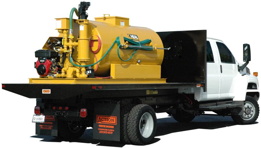 Neal Manufacturing's 1,500-gal. (5,678 L) capacity ESSP 1500S skid-mounted sealcoating machine features an invariable speed control and produces as much as 100 gpm (378.5 L) for coverage up to 40 percent faster than diaphragm systems.