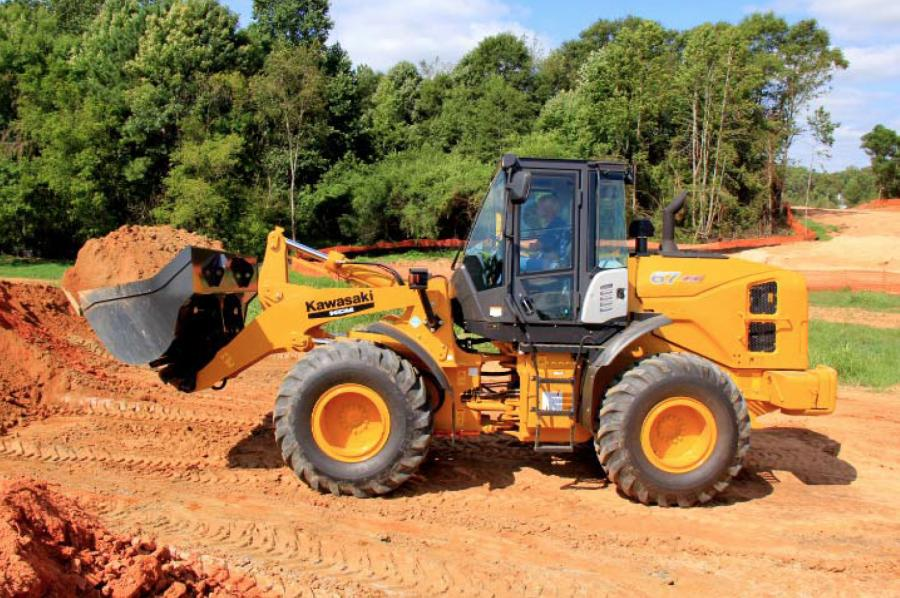 The Kawasaki?KCM 67Z7 wheel loader can be equipped with a 3.1 cu. yd. (2.4 cu m) general purpose bucket for material densities between 2,800 and 3,000 lbs./cy.