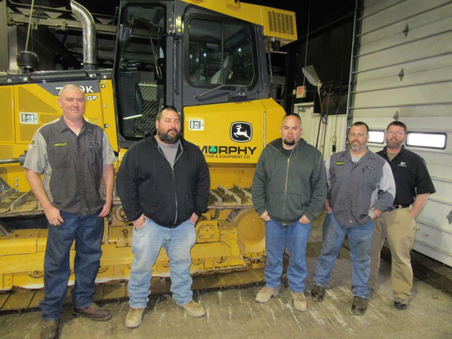 Murphy Tractor's Randy Rodgers (L) joins Jarrod Cramer (second from R) and Mike Poorman (R) to thank Steve Atwood (center L) and Josh Rennicker, both of Whipstock Natural Gas Service, for their recent purchase of a John Deere 1050K dozer.