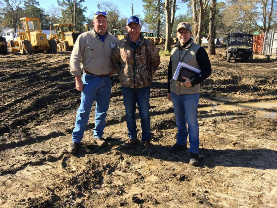 (L-R): Michael Warren, Wolf Creek Contracting, Walterboro, S.C. and Ross McMillan and Mike Finley, both of 4M Iron in St George, S.C., attended the Jeff Martin Auctioneers sale.