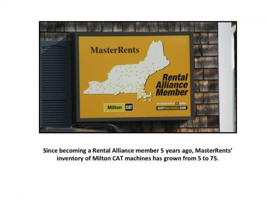 Since becoming a Rental Alliance member five years ago, MasterRents' inventory of Milton CAT machines has grown from five to 75.