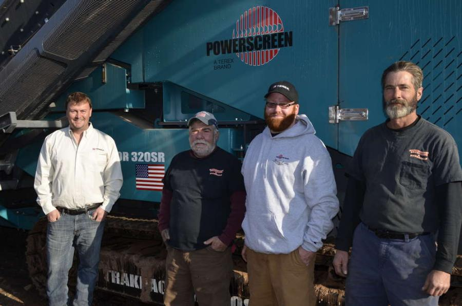 (L-R) are Graham Wylie, Powerscreen New England sales representative; Michael A. Maglieri, president of Manchester Recycling & Materials; Josh Kaiser, equipment operator; and Michael Vendetta, equipment operator.