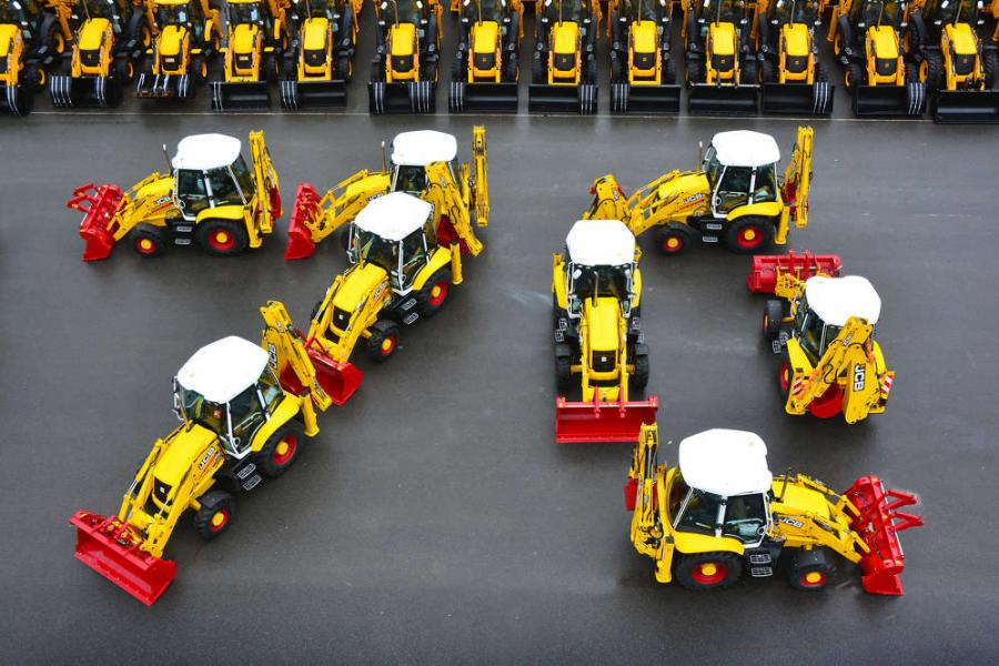 "JCB's ""Platinum Edition"" backhoe loaders come off the production line in the UK as the heavy equipment manufacturer celebrates its 70th anniversary."