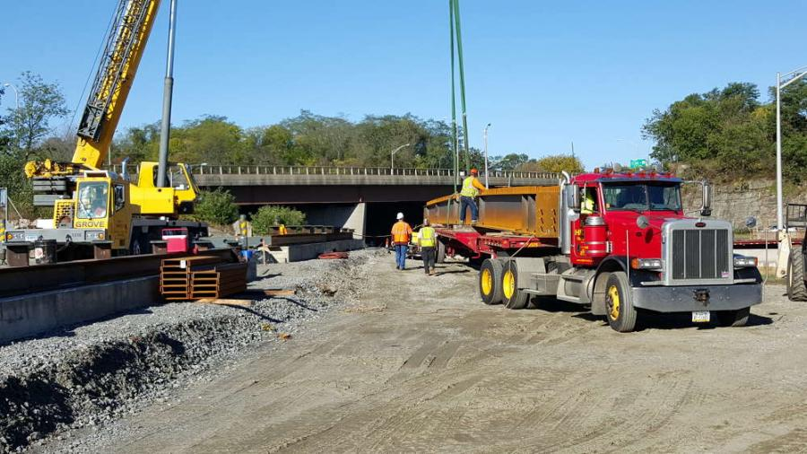 Manafort Brothers Incorporated photo. The Connecticut Department of Transportation's (CTDOT) $34.8 million project to replace the Route 8/25 bridges in Bridgeport has exceeded the half-way point as crews from Manafort Brothers Incorporated are working ha