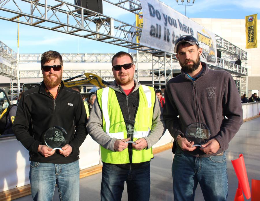Wacker Neuson's Trowel Challenge Competition winners for 2016: (L-R) are, third place, Douglas Garber, B Concrete, Brookville, Ohio; first place, Kevin Suchy, Easy Lay Concrete, Tofield, Alberta, Canada; and second place, Josh Smith, H & M Precision Concr