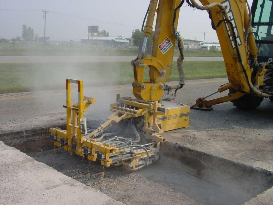 Equipment-mounted drills can be mounted to a backhoe or excavator to quickly move from one patch the next.