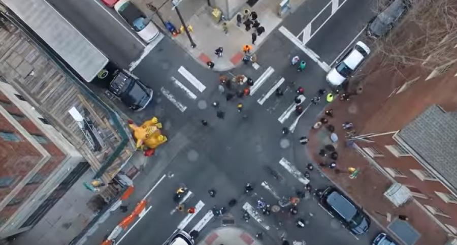 The union recently posted a YouTube video of the drone at work above a large protest in January, set to Rockwell's paranoid 1984 hit