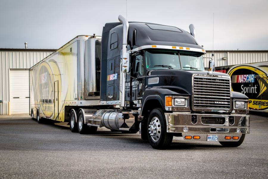 """Mack Trucks and NASCAR announced a multi-year agreement that makes Mack the """"Official Hauler of NASCAR."""" As part of the agreement, Mack provided a fleet of Mack Pinnacle models to transport critical technology and equipment from race to race throughout th"""