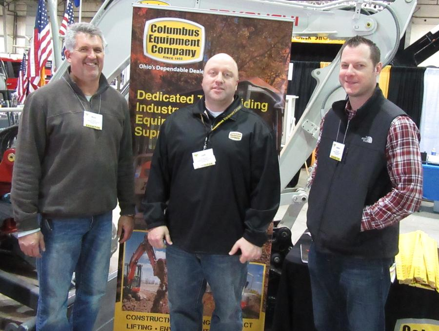 (L-R): Rich Durst, Jeff Richards and Jason Crain, all of Columbus Equipment Company, speak with attendees about the company's lineup of Komatsu, Kubota and Takeuchi equipment at the show.
