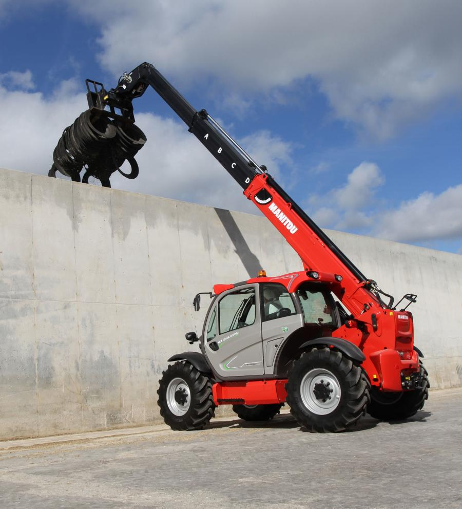 With a maximum capacity of 8,800 lbs. (4,000 kg) and a maximum lift height of 31 ft. 6 in. (9.60 m), this machine has the highest lift height and longest maximum reach, 21 ft. 6 in. (6.55 m), of the current Manitou MLT agricultural telescopic loader line.