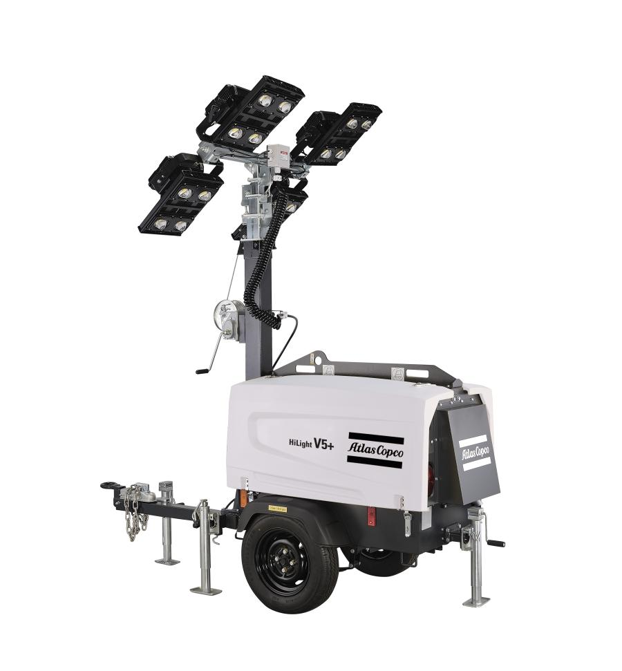 Atlas Copco introduces its HiLight V5+ LED light tower that features its HardHat canopy and a compact footprint.