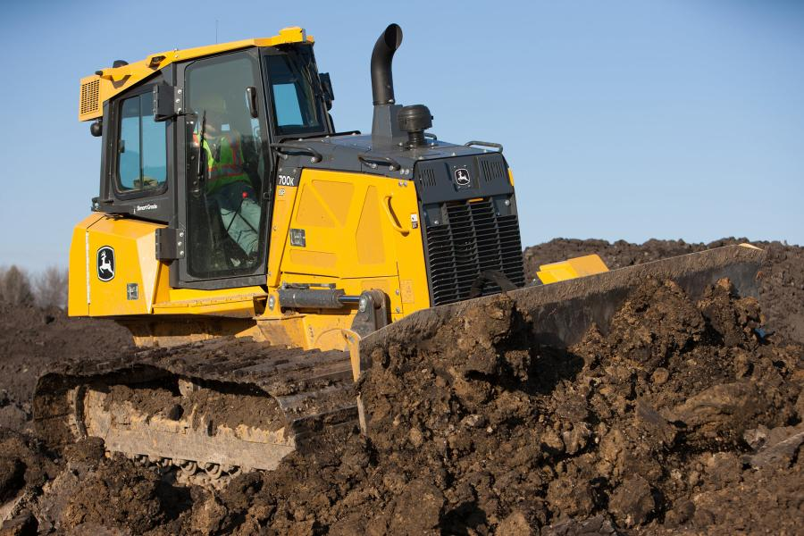 The John Deere 700K SmartGrade crawler dozer is improving jobsite accuracy and quality of work through its complete integration of the Topcon 3D-MC2 Grade Control System.