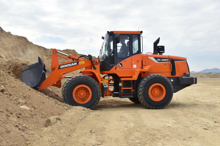 The DL220-5 wheel loader falls in the 150 to 175-hp size class, and is powered by a Doosan DL06 diesel engine without the need for a diesel particulate filter (DPF).