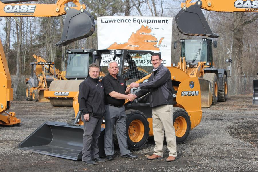 (L-R) are Tim Means, salesman, Lawrence Equipment; Mel Hankes, Finley Asphalt & Sealing; and Gary Gantzert, territory manager, Case.