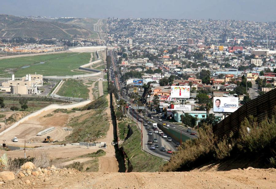 To the right lies Tijuana, Baja California, and on the left is San Diego, California.