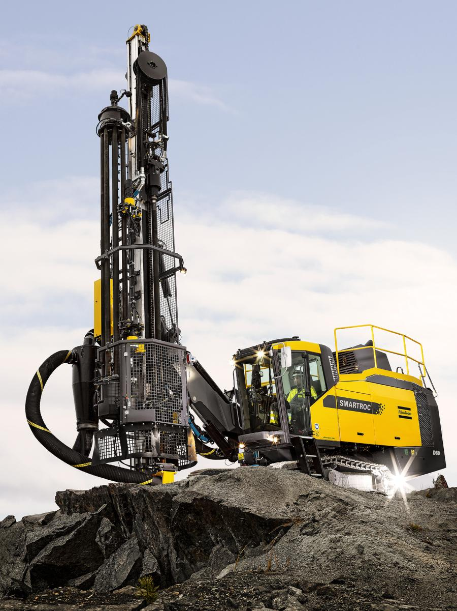 The SmartROC D60 drills accurate quarry, construction and surface mining blastholes from 4 ½ to 7 in. (11.4 to 17.7 cm) in diameter.