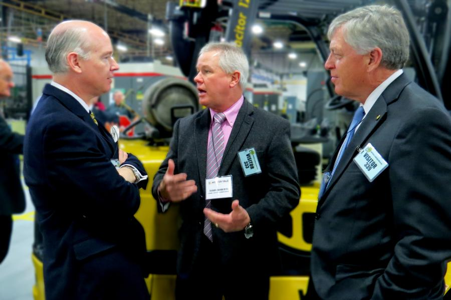 (L-R): Robert Aderholt, Alabama congressman; Terry Roberts, Lamar County commissioner; and Gerald Allen, Alabama state senator, talk during the economic development forum and plant tour.